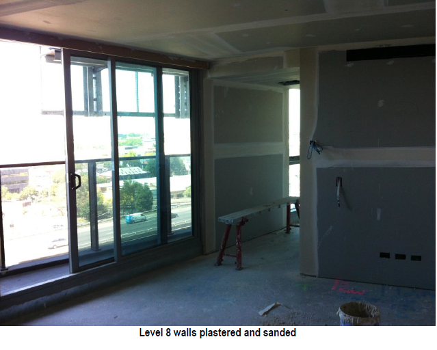 Level 8 walls pastered and sanded
